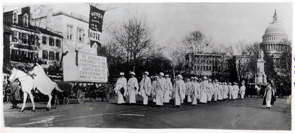 Suffragists march in Washington, DC