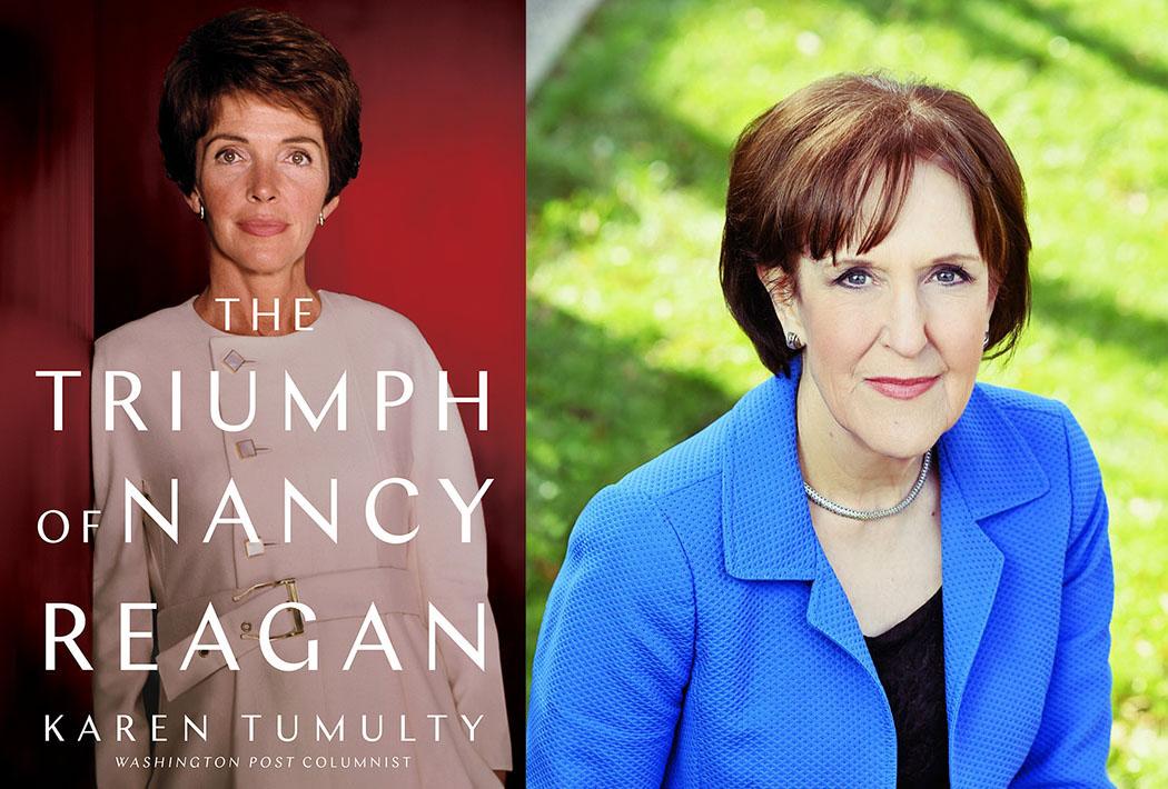 Book cover of The Triumph of Nancy Reagan plus portrait of Karen Tumulty