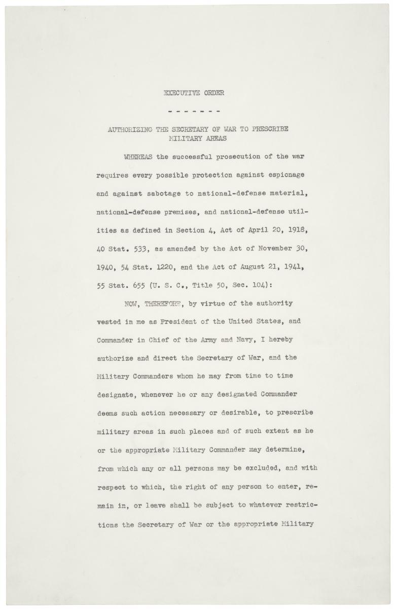 Executive Order 9066, page 1, February 19, 1942 (WWII Japanese-American Relocation)