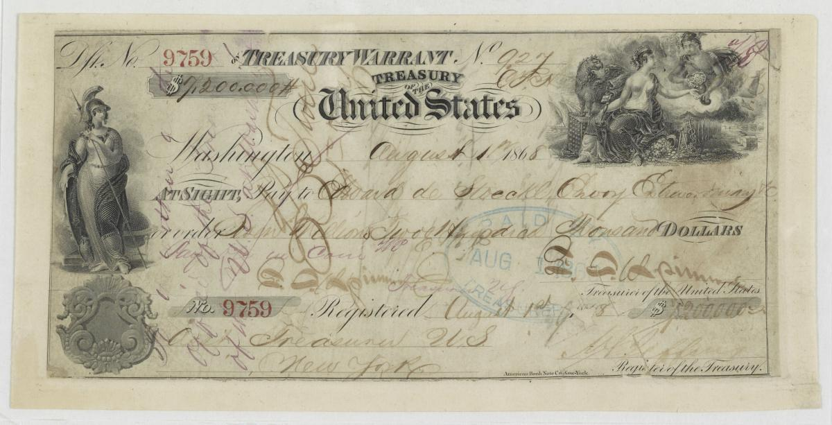 Cancelled check for the Alaska Purchase, August 1, 1868