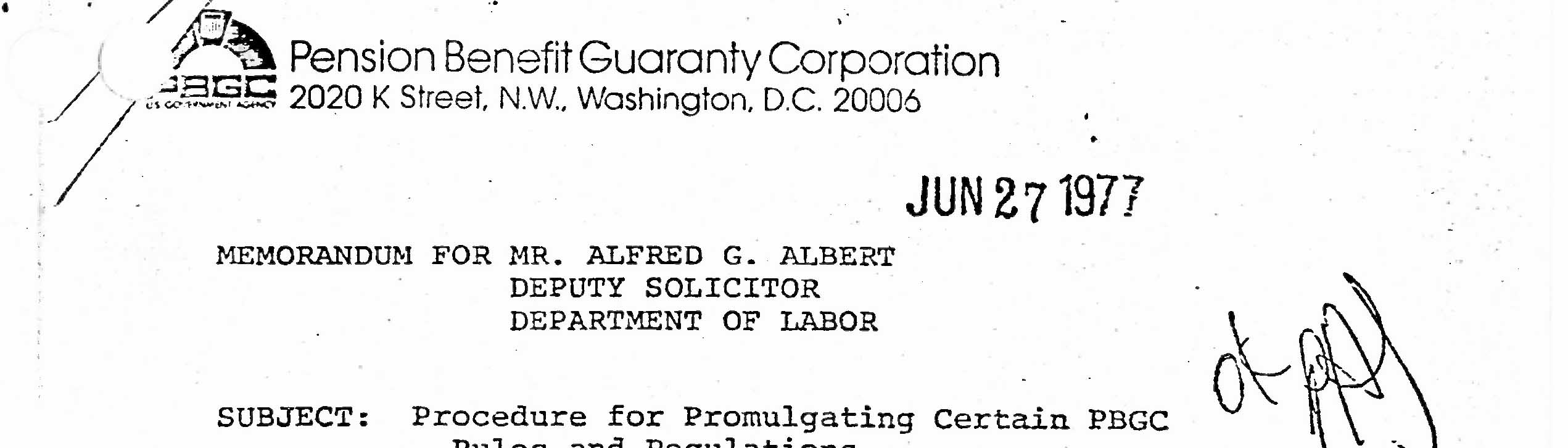 Records of the Pension Benefit Guaranty Corporation
