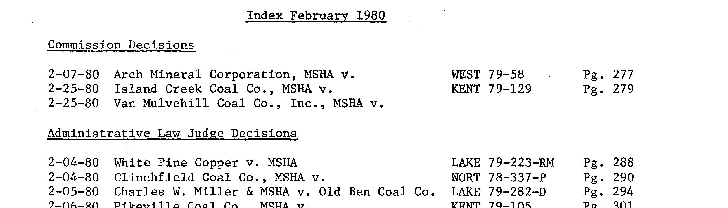 Records of the Federal Mine Safety and Health Review Commission