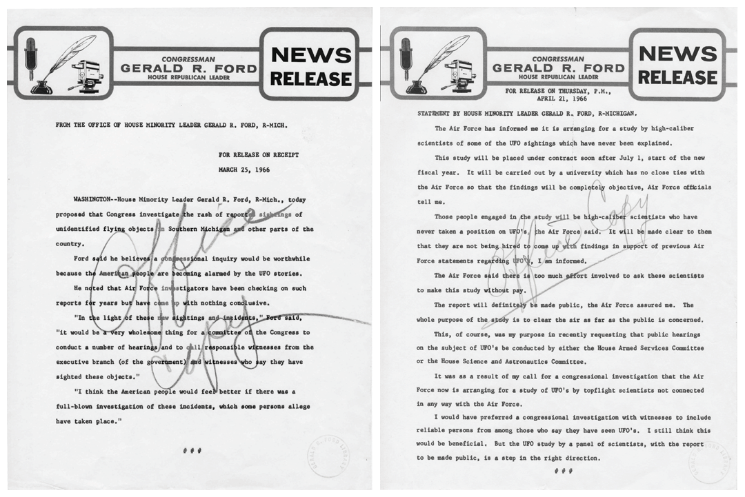 These Congressional press releases from then-House Minority Leader, Gerald Ford, called for an investigation into UFO sightings in 1966. ( Box D9, folder Ford Press Releases-UFO 1966 of the Ford Congressional Papers: Press Secretary and Speech File at the