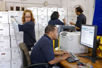 Philadelphia FRC staff process a records transfer in ARCIS