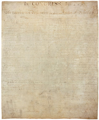Copy of the Declaration of Independencde, signed July 4, 1776