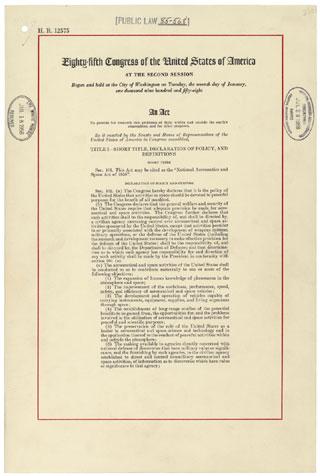 National Aeronautics and Space Act of 1958