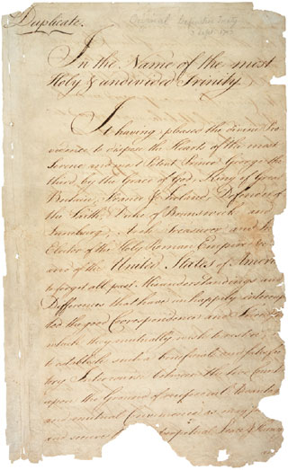 Treaty of Paris, 1783; International Treaties and Related Records,