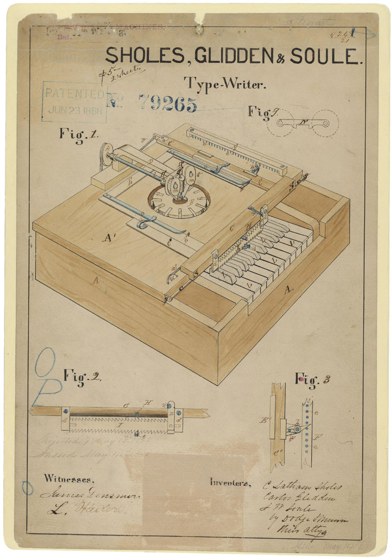 Drawing for a Typewriter, 06/23/1868 (ARC Identifier: 595503); Patented Case Files, 1836 - 1956; Records of the Patent and Trademark Office; Record Group 241; National Archives.