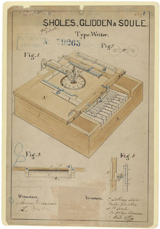 Image result for patented received for the typewriter in 1868