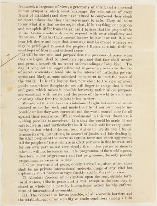 essay on woodrow wilsons fourteen points Fourteen points (1918) by woodrow wilson home / historical text / fourteen points / summary in fourteen broad strokes, the fourteen points lay out a vision for the world wilson's idea of a global community of free nations is built on two ideas.