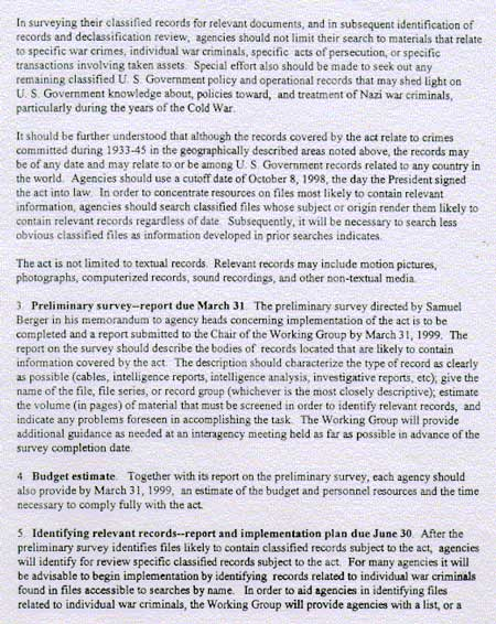 Initial Guidance to Agencies for Implementing the Nazi War Crimes Disclosure - 2