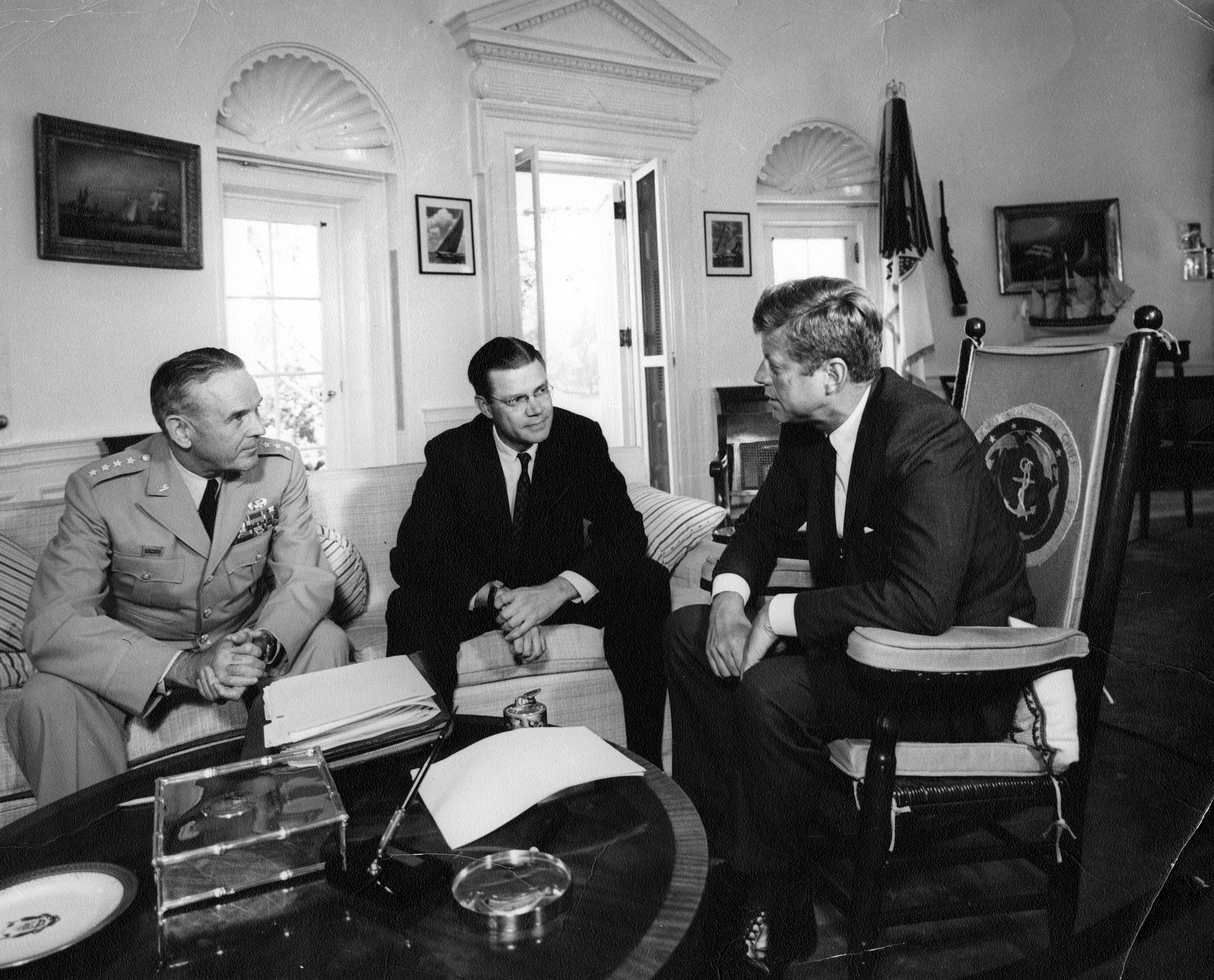 Kennedy, McNamara, and Taylor in the Oval Office at the White House