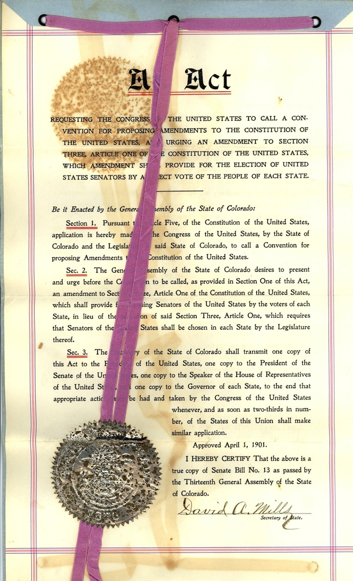 17th Amendment Direct Election Of Us Senators National Archives