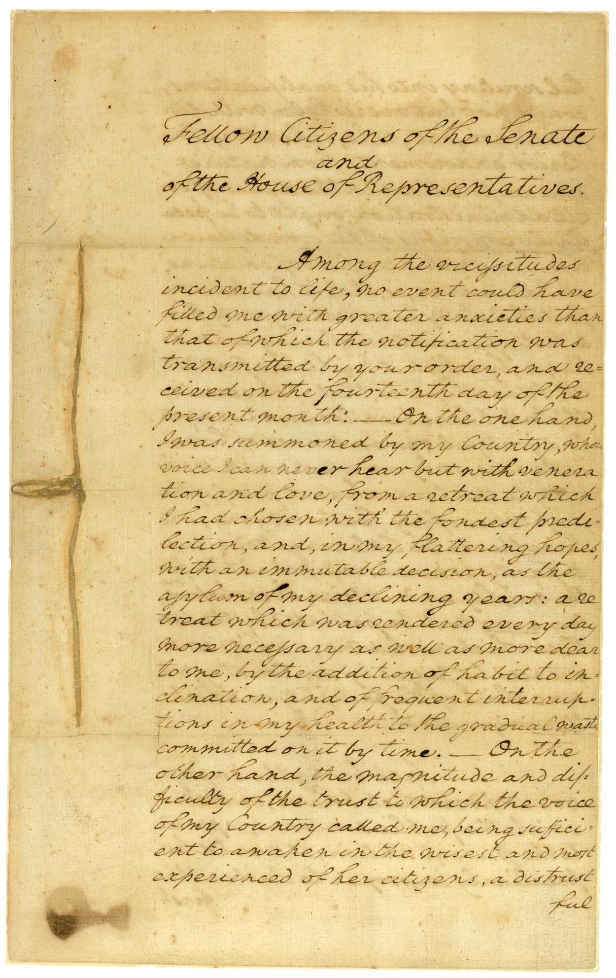 George washington's inaugural address summary