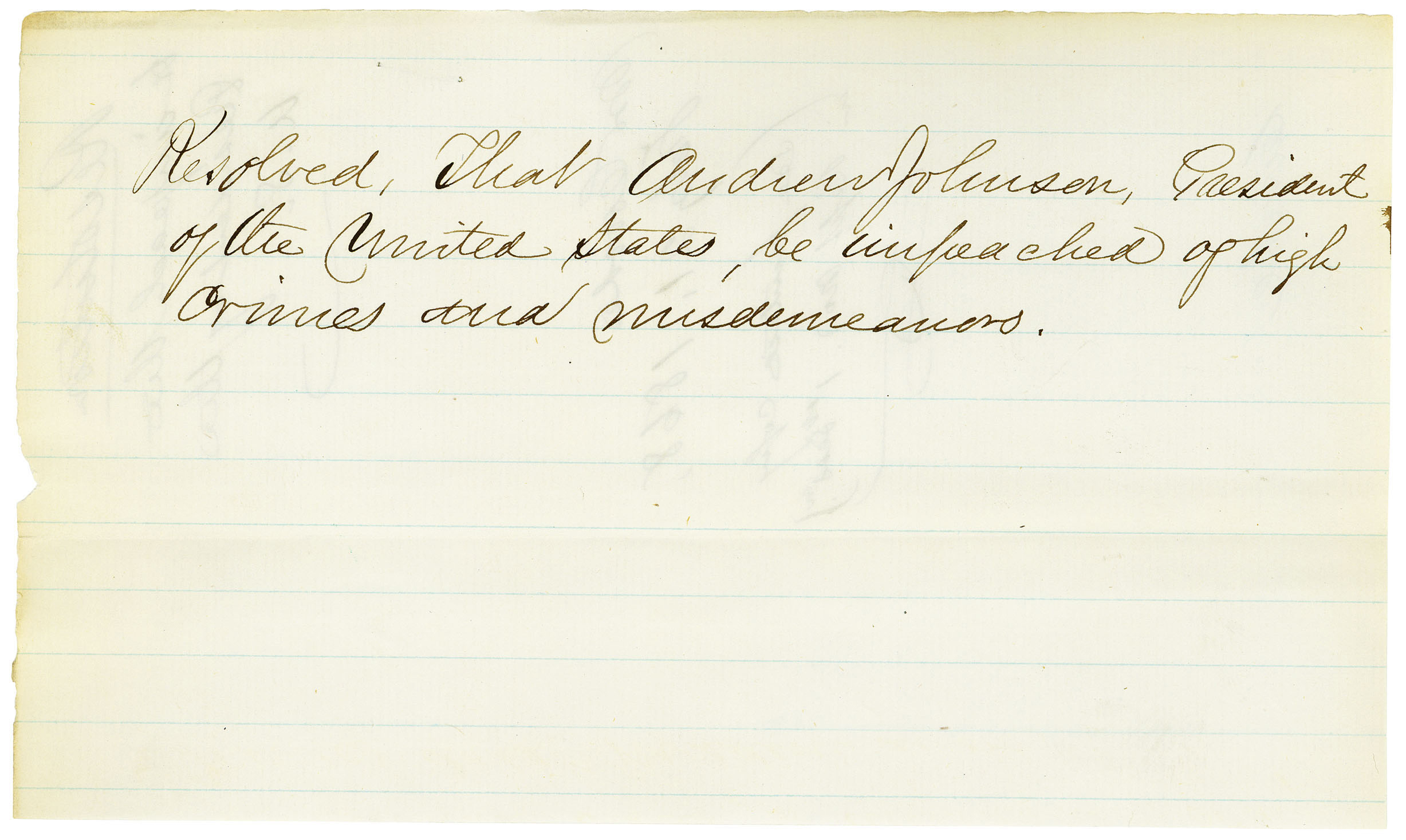 Impeachment Of President Andrew Johnson National Archives