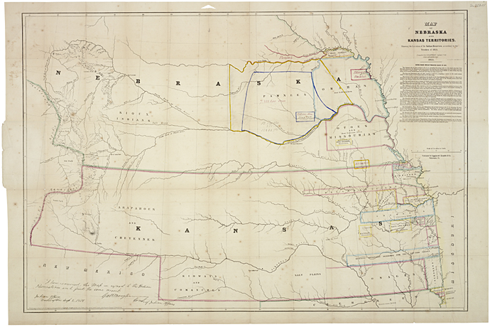 Map Of Territories Of Nebraska And Kansas 1854