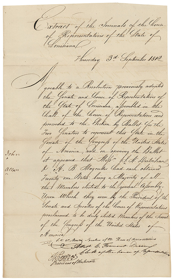 From the U.S. National Archives: Joint Credentials for the State of Louisiana's First Senators, September 3, 1812