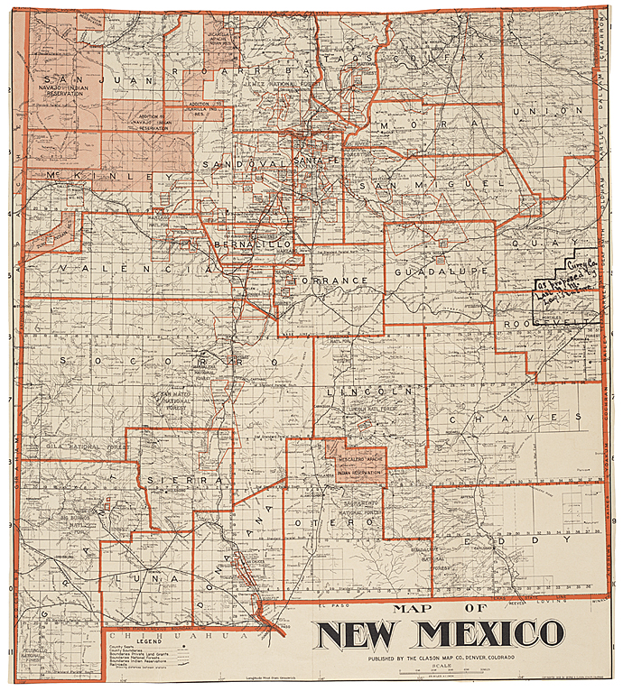 Map Of New Mexico Showing County Seats And Boundaries 1908