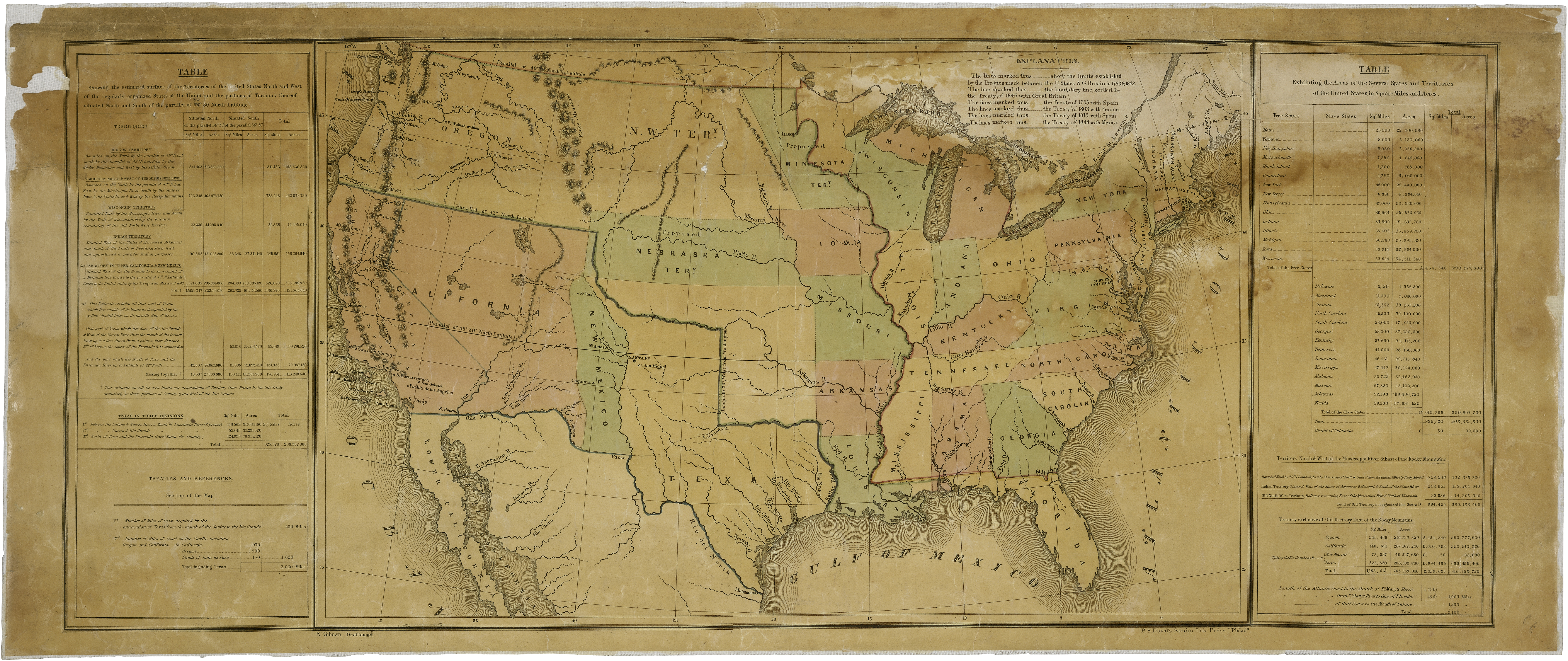 Us Map Of 1848 Map of the United States including Western Territories, December