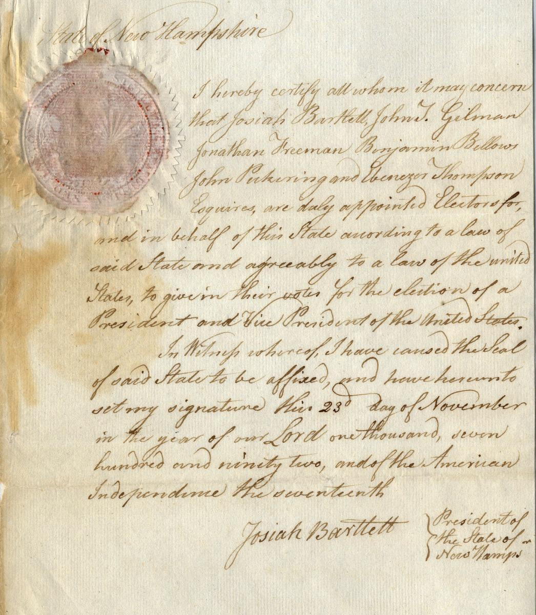 1792 New Hampshire electors certificate of ascertainment