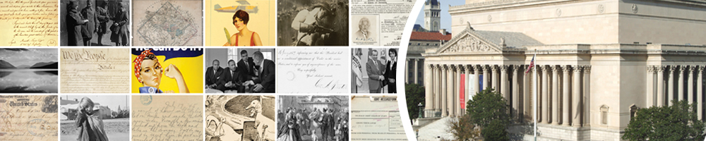American archives Month graphic banner using images from the National Archives holdings.