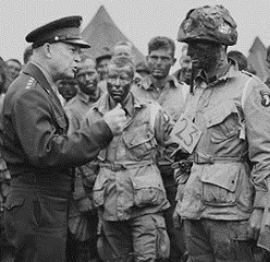 General Eisenhower speaks the troops before the Normandy invasion