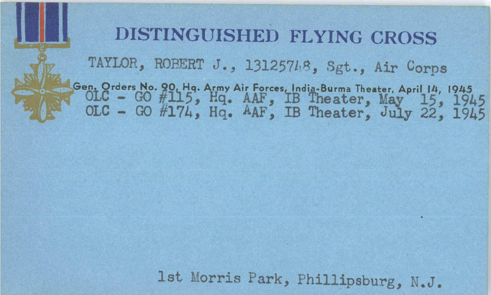 Citation for Distinguished Flying Cross