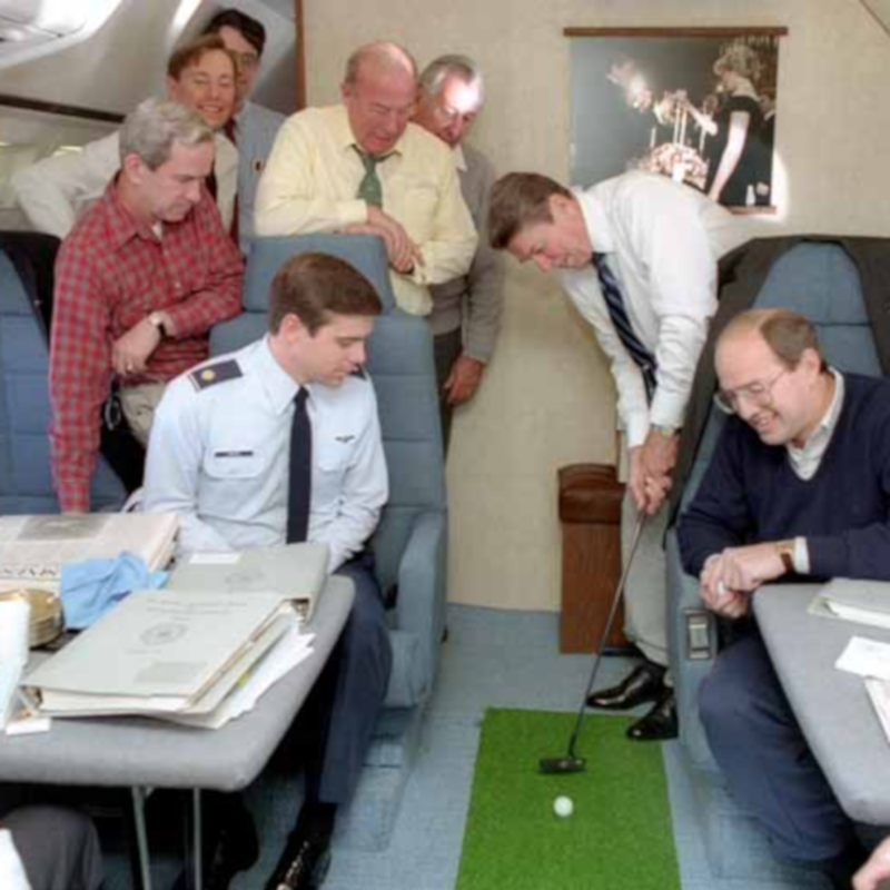 President Reagan practices golf on Air Force One