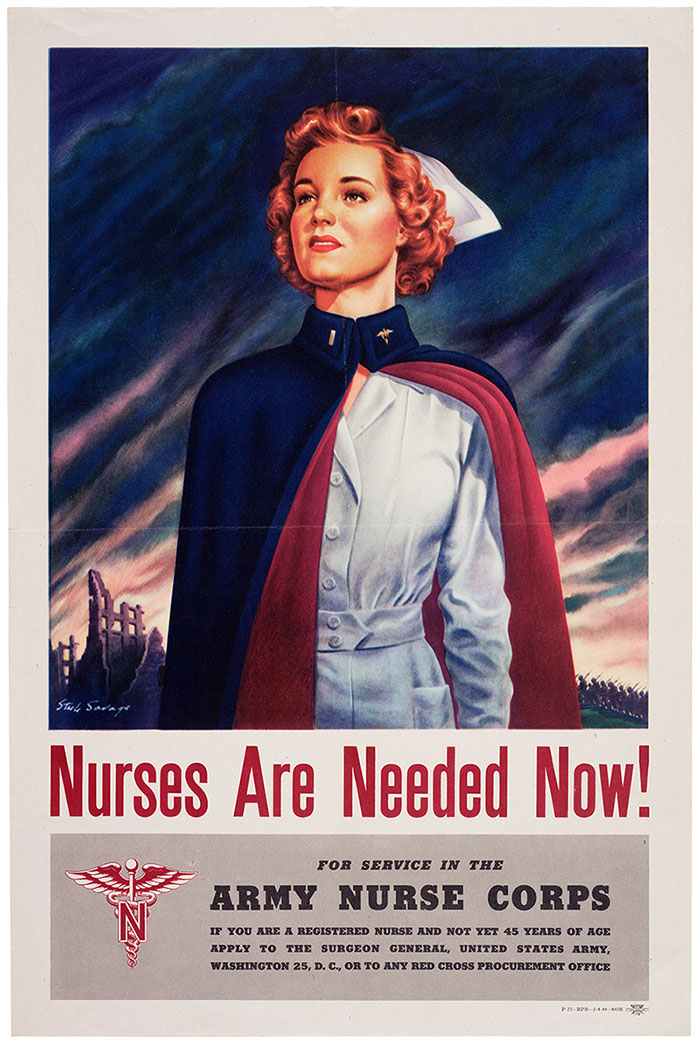 Poster calling for nurses in World War II