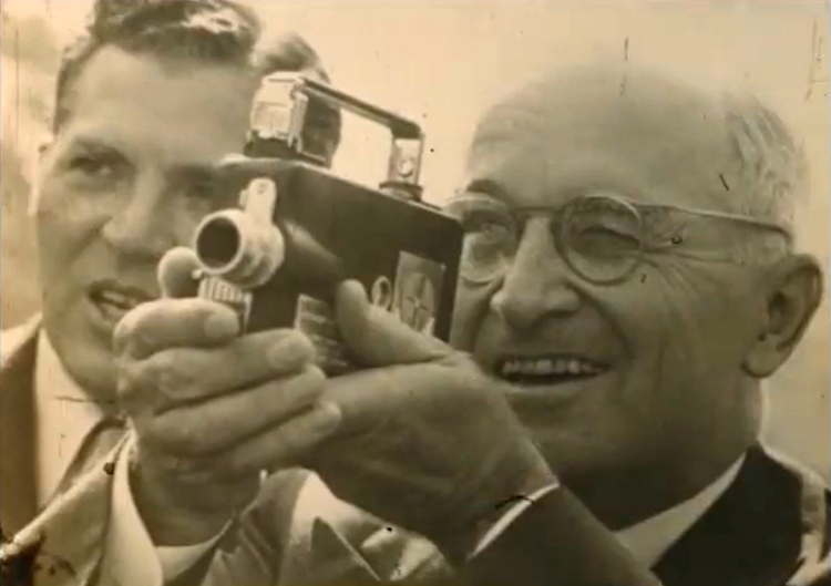 Harry Truman with a movie camera