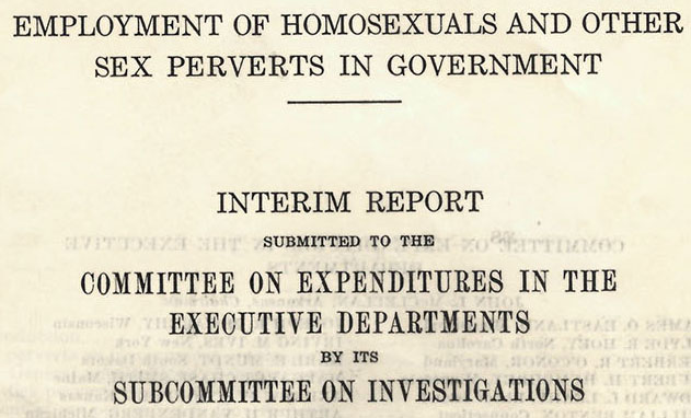 Congressional committee report on homosexuals in the government
