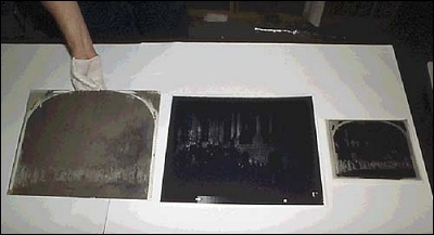 Glass plate negative in wash
