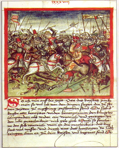 Illustrated manuscript page depicting of Battle of Lechfeld