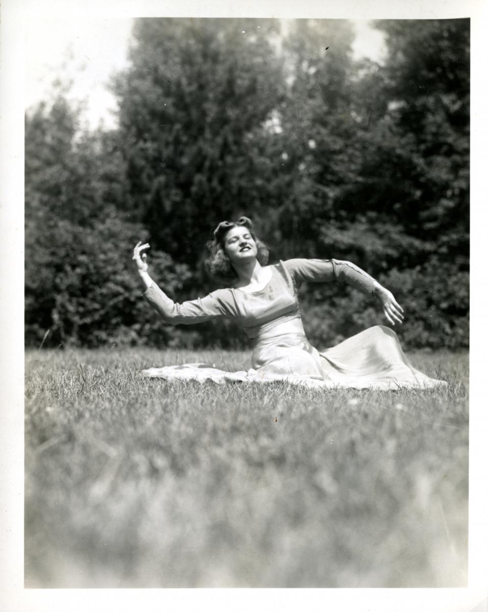 Betty Bloomer dancing at Camp Bryn Afon in Rhinelander, Wisconsin, where she worked as a dance instructor. Ca. 1940.