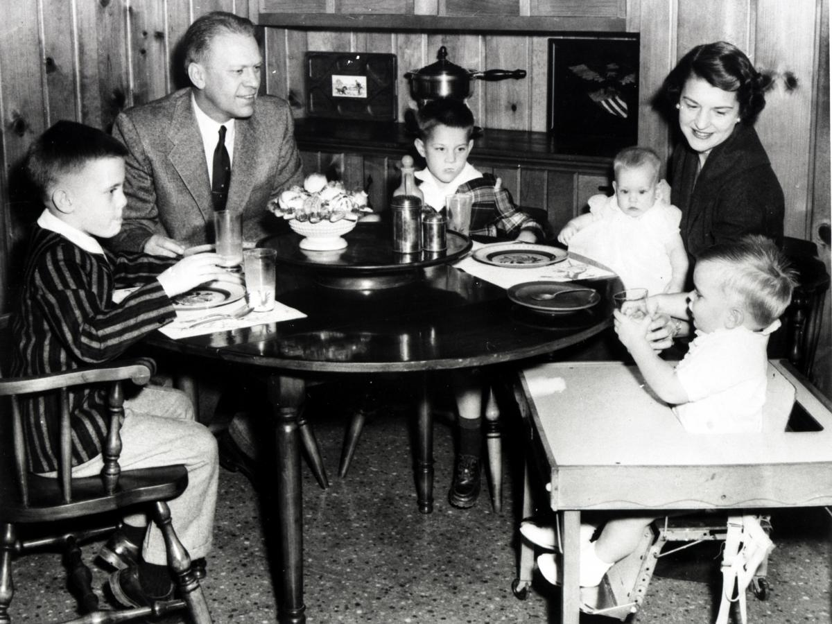 Congressman Gerald Ford, wife Betty and their children Mike, Jack, Susan, and Steve sit in the dining room of their home at 514 Crown View Drive, Alexandria, Virginia. 1958.