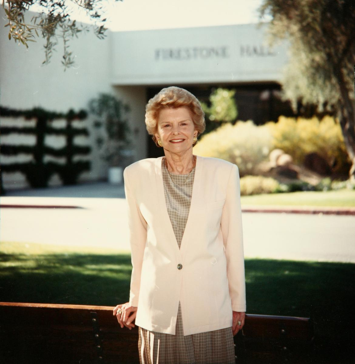 Betty Ford, stands outside the Betty Ford Center, a treatment center for alcohol and drug depency that she co-founded in 1982. 1990. Image courtesy of Betty Ford Center.