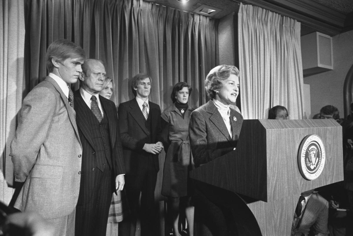 First Lady Betty Ford reads President Gerald R. Ford's concession statement to the media following Jimmy Carter's victory in the 1976 election. November 3, 1976.