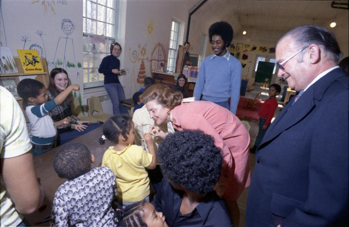 First Lady Betty Ford visits with children at the Hospital for Sick Children in Washington, DC. March 5, 1975.