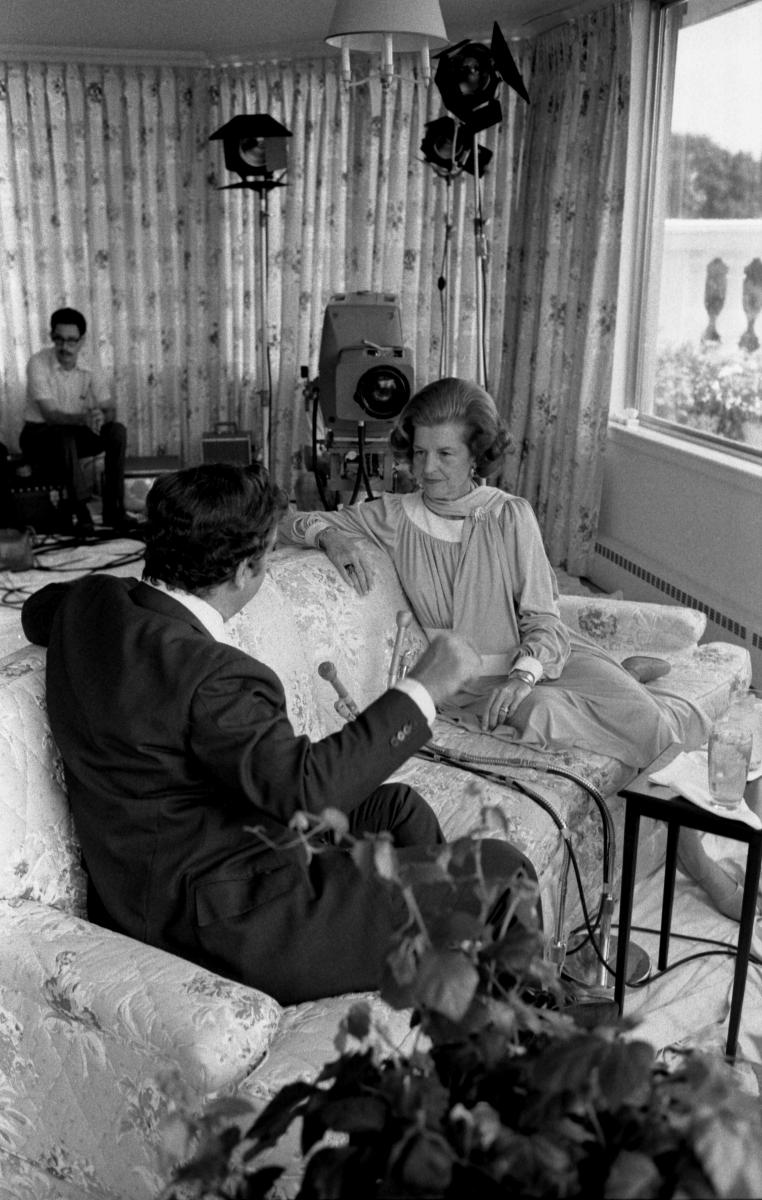CBS correspondent Morley Safer interviews First Lady Betty Ford for a 60 Minutes segment in the White House Solarium. She candidly shared her opinions on such provocative issues as abortion rights, premarital sex, and marijuana use. July 21, 1975.