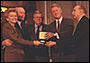 President Ford and First Lady Betty Ford receive the Congressional Gold Medal from Speaker of the House Dennis Hastert and Senator Strom Thurmond.  Also shown is President Bill Clinton. October 27, 1999.