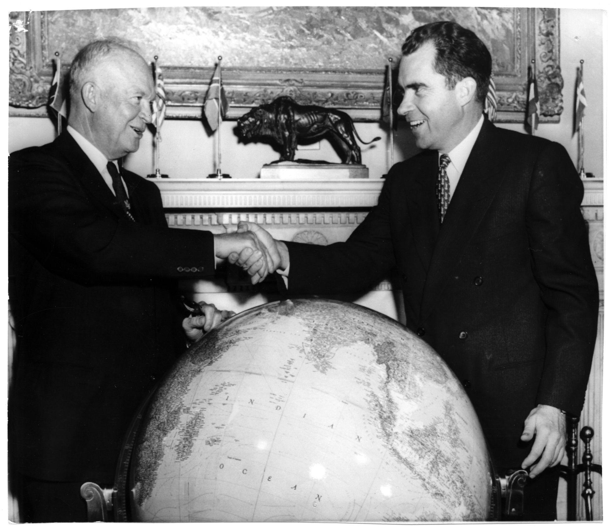 President Dwight D. Eisenhower and Vice President Richard Nixon at the White House before the Vice President's Ambassador of Goodwill tour departure to the Far East, October 5, 1953. Richard Nixon Presidential Library and Museum, used with permission of the Richard Nixon Foundation and Julie Nixon Eisenhower.
