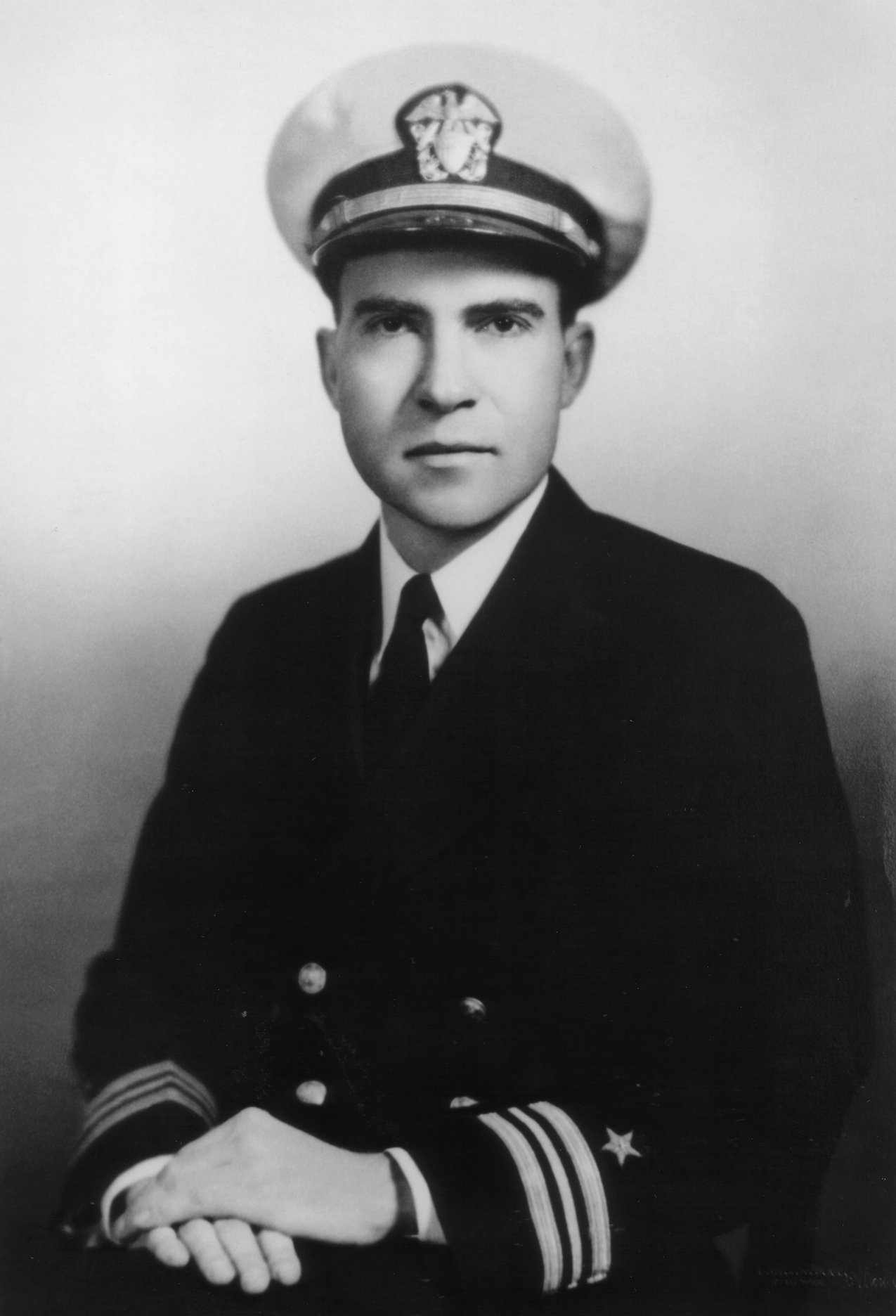 1945 photograph of Lt. Commander Richard Nixon wearing his Navy uniform. When Richard Nixon ran for Congress in 1946 he wore his Navy uniform as he declared at the time that he did not have a civilian suit. Richard Nixon Presidential Library and Museum, used with permission of the Richard Nixon Foundation and Julie Nixon Eisenhower.