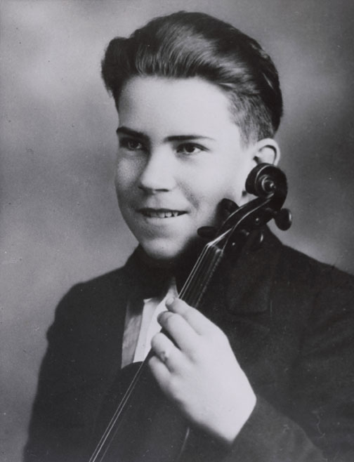 Richard Nixon, age 15, holding his violin, ca 1927-1928. Richard Nixon learned to play the violin, clarinet, saxophone, piano, and the accordion. When he was 12, Richard was sent to live and study music with his mother's sister in central California. He returned home six months later and eventually discontinued his studies, but his love of music continued. Richard Nixon Presidential Library & Museum.