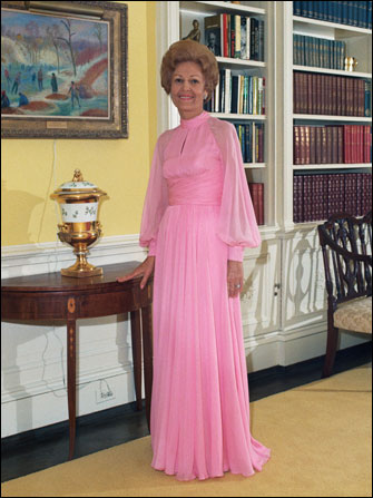 Formal portrait of First Lady Pat Nixon in the Yellow Oval Room of the White House, 1972.