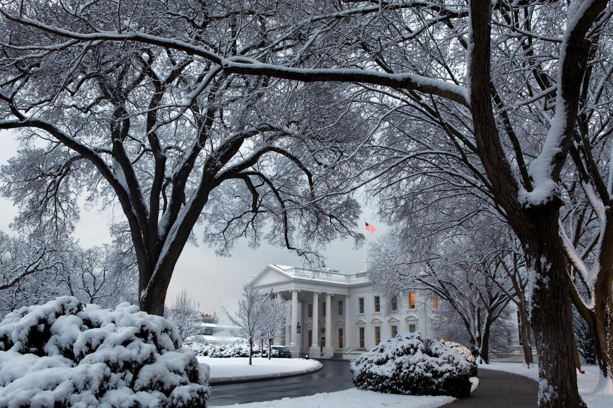 The White House in winter snow