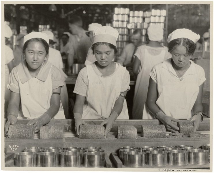 Girls working in a pineapple cannery