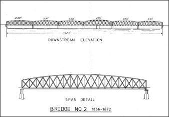 diagram of 2nd Rock Island Railroad Bridge