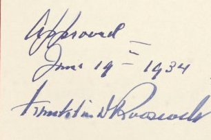 FDR signature on National Archives Act of 1934