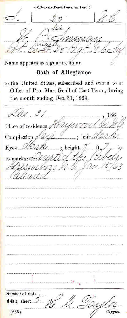Inman's CMSR stating that he swore an oath of allegiance to the U.S.