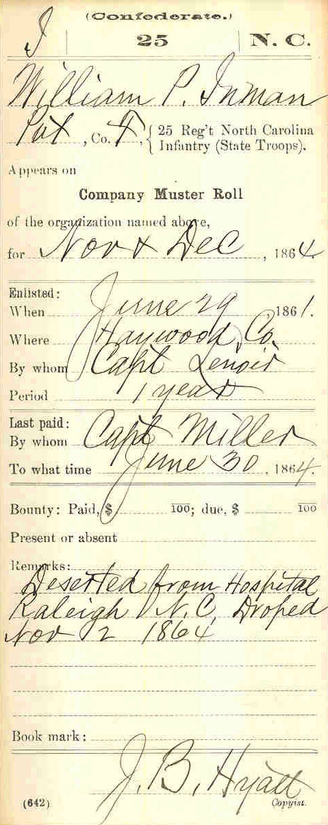 Inman's service card showing that he deserted from the hospital in Raleigh